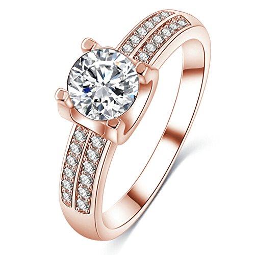 Blisfille Ring Rose Gold Damen Damen Ring Zeigefinger Rosegold Runde Zirkonia White Kristall Ring Größe 54 (17.2)