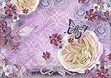 Fototapete Rosen Schmetterlinge Flieder rosa Blumen Schlüssel Muster Blau Rosa XL 350 x 245 cm - 7 Teile Vlies Tapete Wandtapete - Moderne Vliestapete - Wandbilder - Design Wanddeko - Wand