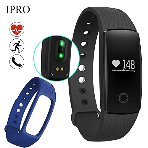 Pedometer Bracelet with Heart Rate Monitor,IPRO ID107 Waterproof Activity Exercise Fitness Tracker Health Sleep Monitor Smart Wristband Watch+Band for IOS iphone&Android (Black+Blue)