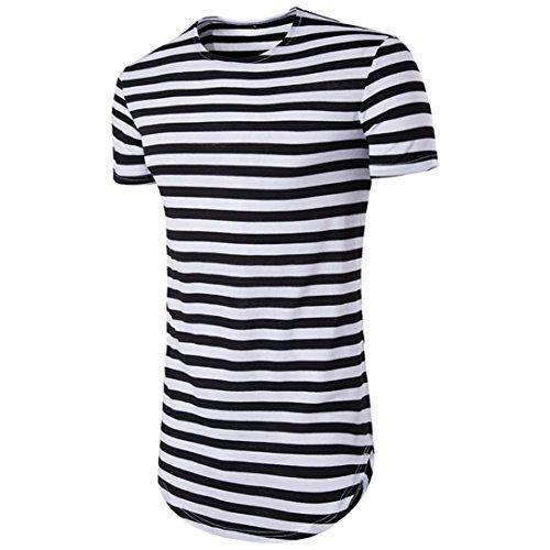 Amlaiworld Summer Slim Fit Striped Print T-Shirt Top, Modern and Cool Short Sleeve T-Shirt Polyester (XXL, Schwarz)