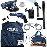 Born Toys 12 Pezzi Costume Polizia per Bambini con Kit di Giochi di Ruolo Giocattolo con Badge Polizia , Manette , Torcia per Bambini per Costume da Poliziotto