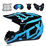 GL - Casco da Cross e Occhiali da Motocross (5 Pezzi) - Nero e Blu - Casco per Adulti off Road, Casco Integrale MTB, Casco Cross motociclistico
