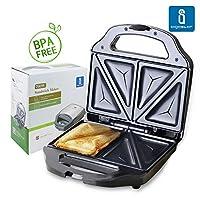 Aigostar Cieplo Steel 30CEX - Grill pour sandwichs de 700 W en acier inoxydable. Qualité et garantie propre. Garanti sans BPA.
