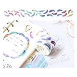FOONEE Color naturale, collezione decorativo nastro adesivo, adesivo di carta Washi sottile per fai da te, decorativo Craft, pacchi regalo, scrapbook- Lucky fenicottero serie Falling Feather