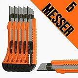 5 Stück Cuttermesser mit 18mm Abbrechklinge und Metallschiene Teppichmesser Mehrzweck Messer Allzweckmesser Universalmesser
