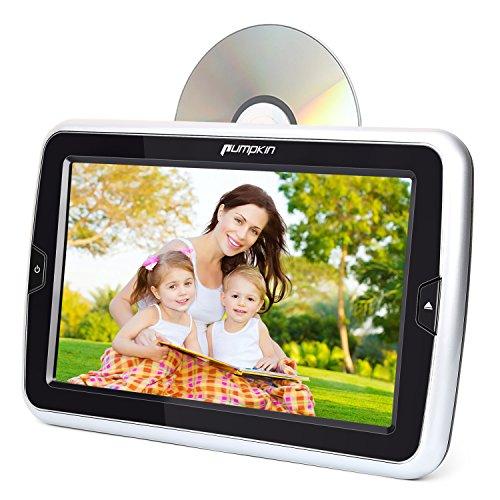 Pumpkin DVD pour Voiture 10,1 Pouce Ecran d'appui tête Slot in Design Résolution 1024 * 600 Supporte USB SD HDMI Input avec Support pour Montage en Voiture et Câble Adaptateur Mural