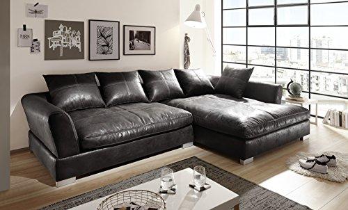 Euro Tische Big Sofa mit Modernem Stlye Stoff in Vintage Schwarz Kunstleder Ecksofa Größe 290x182cm (Euro-design-leder-sofa)
