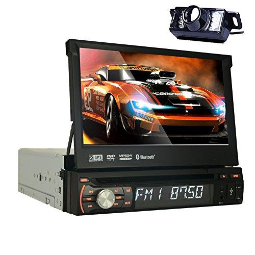 Rearview-Kamera + Autoradio Audio Stereo 7''Detachable-Panel WinCE 6.0 Einzel Din im Schlag-Auto Audio-Steuerger?t Unterst¨¹tzung Bluetooth GPS-Navigations-DVD-CD-Player SWC USB SD CAM-IN 1080P mit (Einzel-din Auto Stereo Cd-player)