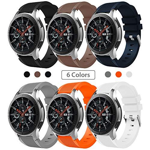 SUNDAREE Kompatibel mit Galaxy Watch 46MM Armband,6 Farben 22MM Silikon Armband Sportarmband Uhrenarmband Ersatz für Samsung Galaxy Watch 46MM SM-R800/Samsung Gear S3 Frontier/Classic(46 Silikon) - 46 Silikon