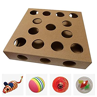 Unique Design, New for 2016 - Cat Toy Puzzle Box - As Seen on TV Channel 5's The Secret Life of Kittens - An Interactive Indoor Cat Toys Puzzle Box by Smitten Kitten - Four Cat Toys included, Balls and a Mouse - A Great Gift For Any Cat