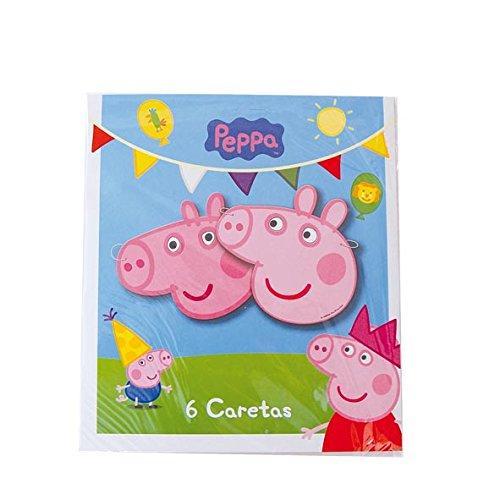 Peppa Pig Papieren Maskers 6St (Peppa The Pig Kostüm)