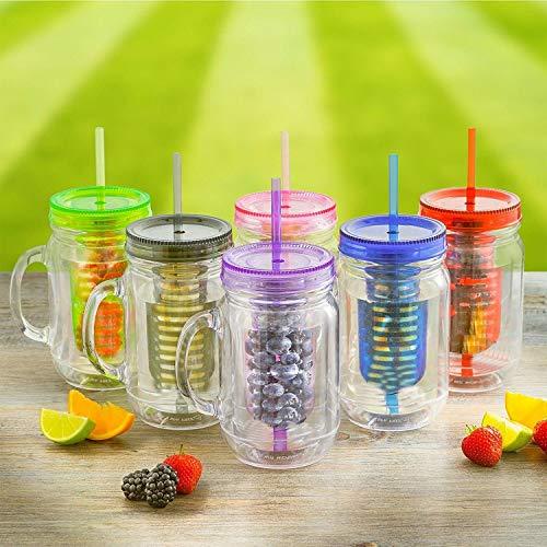 3 x Fruit Infusion Infundiert Wasser Maurer Marmeladengläser trinken Glas mit Griff und Stroh 500ml - Transparent