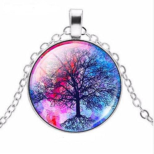 Halskette, Anhänger Medaillon Baum des Lebens Farbe auf Boden von Himmel Blau und Rosa. - Himmel Auf Boden