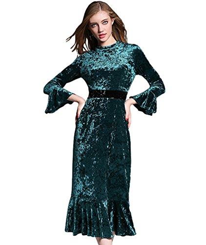 YiJee Femme Élégant Exquis Robe de Manches Longues Hiver Slim Swing Cocktail Longue Robe Vert