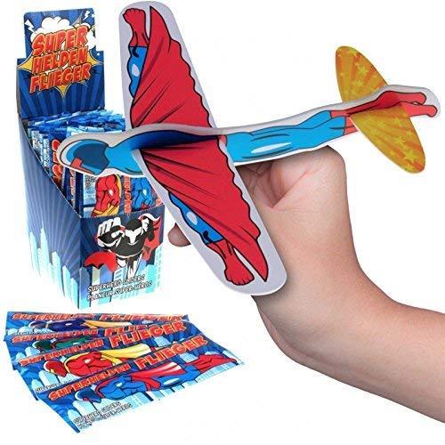 JT Gleitflugzeuge Set - Der Klassiker für den Kindergeburtstag - Styropor-Flieger - einzeln verpackt - für Tombola Schultüte Mitgebsel Überraschung (12er Set Superhelden-Flieger) (Basteln Superhelden Kinder Für)