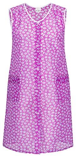 ze PINK / lila bunt mit Knopfleiste abwaschbare Garten- und Haushalts Schürze I Dederon Kostüm Kittel DDR Retro Style (Retro-kostüm Für Frauen)