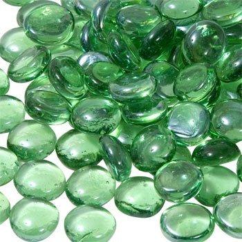 Royal Sapphire Green Edelsteine, grüne Murmeln, Kieselsteine für Vasen, Flache Unterseite, runde Oberseite, Steine, Schüsselfüller, schillernde Dekor, dekorative Tischaufsätze, Floristen-Zubehör 1 kg