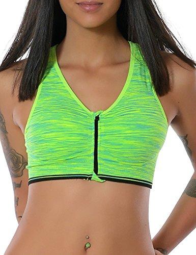 Damen Yoga Sport Push-Up BH Reißverschluss Ohne Bügel (weitere Farben) No 13879, Farbe:Grün;Größe:XL / XXL