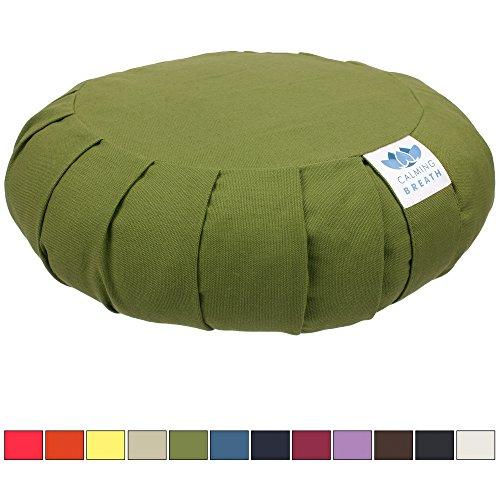 CalmingBreath Meditationskissen / Zafu-Kissen - Bezug aus Baumwolle, Buchweizenfüllung - Yogakissen