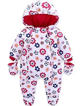 Baby Winter Overall Mit Kapuze Schneeanzüge mit Handschuhen und Füßlinge Mädchen Jungen Warm Kleidungsset