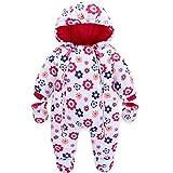Bambino Tute da neve con Guanti e Scarpe Ragazze Inverno Pagliaccetto con Cappuccio Caldo Set di Abbigliamento 3-6 Mesi