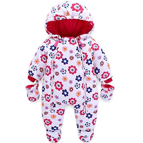 JiAmy Baby Winter Overall Mit Kapuze Mädchen Schneeanzüge mit Handschuhen und Füßlinge Warm Kleidungsset 6-9 Monate