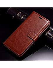 Thinkzy Artificial Leather Flip Cover Case for Samsung Galaxy J6 Plus (Brown)