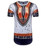 T-Shirts,Honestyi 2018 Kreativ Entwurf Herren Sommer Nationaler Wind DruckBeiläufig Afrikanisch Drucken Einfarbige T-Shirts Rundhalsausschnitt Verschiedene Farben TopBluse Sweatshirt (S, Weiß)