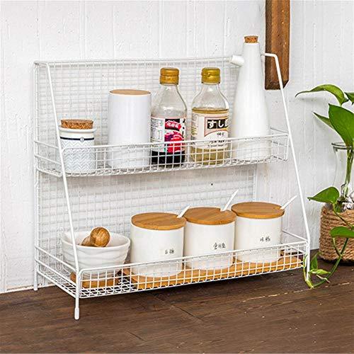 Edelstahl Wandregal Lagerung Rack Regal Doppelschicht-Speicher-Halter Küche Lagerung Display Rack lagerregal Metall Passend für Schlafsaal, Küche, Büro