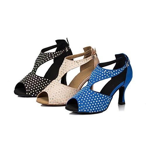 Minitoo Damen funkelnden Kristallen, Satin Evening Wedding Shoes Tanzschuhe, Modern Schwarz