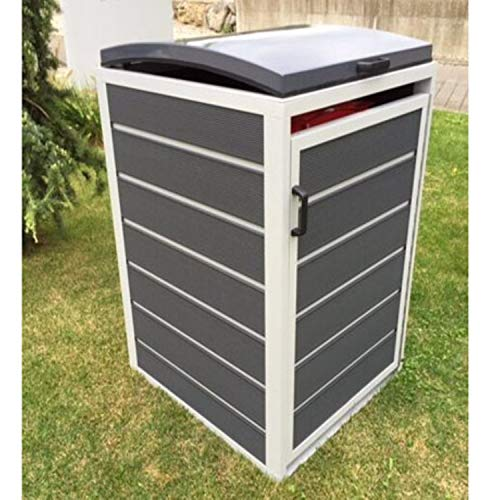 Prewood WPC Mülltonnenbox, Mülltonnenverkleidung für 1x 120l Mülltonne grau // 70x68x113 cm (LxBxH) // Gerätebox, Gartenbox & Mülltonneneinhausung