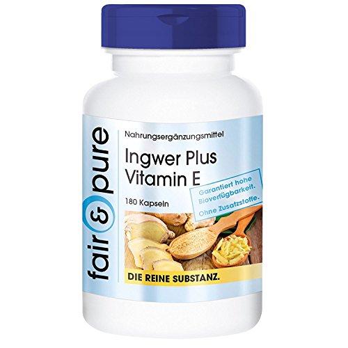 Ingwer 600mg Plus Vitamin E, vegan, 180 Ingwer-Kapseln, Ingwer-Wurzelpulver, Gingerol, ohne Magnesiumstearat und Siliciumdioxid