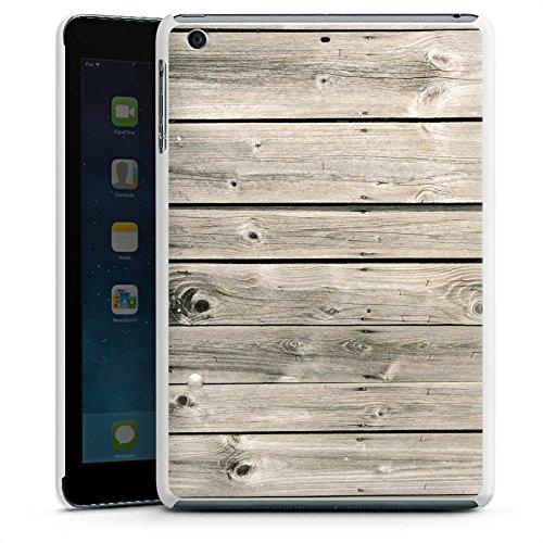 Holzlatten-rahmen (Apple iPad mini 3 Hülle Schutz Hard Case Cover Graue Holzlatten Holz Look Planken)