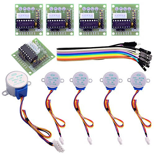 Elegoo 5V Schrittmotor + ULN2003Motor-Treiberplatine für Arduino, 5Sets (28BYJ-48)