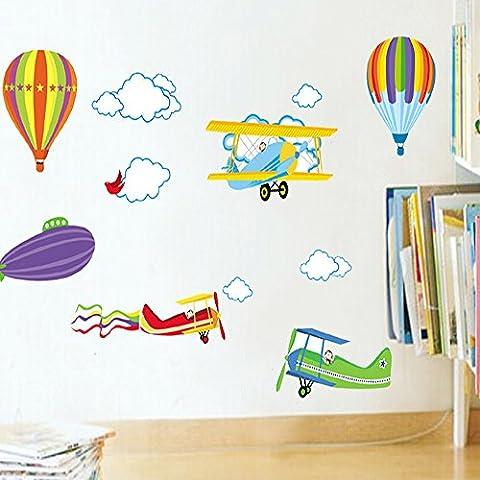 Docliick® Vinilos infantiles o decorativos de Cielo con nubes grandes, avionetas y globos aerostáticos, para dormitorio de niño o niña, reutilizable, no deja