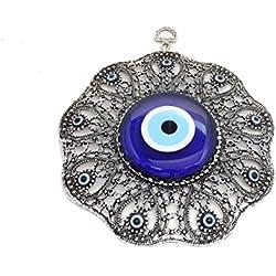 Remi Bijou Wanddeko Wandschmuck Deko - Böser Blick Nazar Boncuk Evil Eye - Rund - Schleife - Glücksbringer blaues Auge
