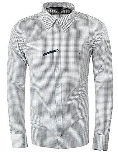 Tommy hilfiger custom-fit camicie (l, blu bianco)