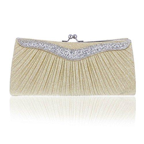 0873ee93358a4 Damara® Falten Glitzer Festlich Brauttasche Damenhandtasche Mit Kette Gold