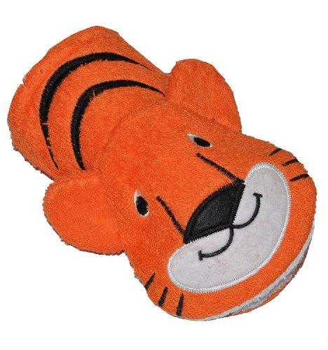 2 in 1: Waschhandschuh + Handpuppe Tiger für Kinder - Handspielpuppe Handpuppen Tier Baby Zootiere Afrika Waschlappen zum Spielen und Waschen