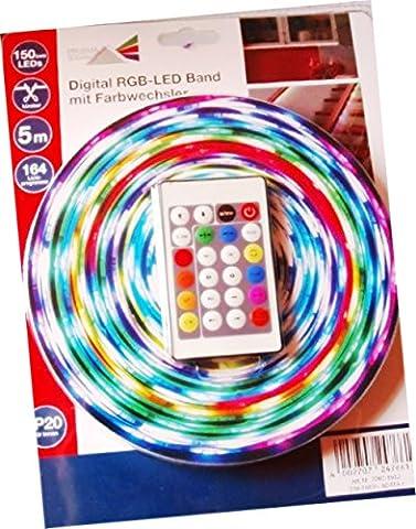Prisma LED 5m Digital RGB mit Farbwechsel kürzbar 150SMD 164 versch. Lichterp für Innen und Außen geeignetrogramme