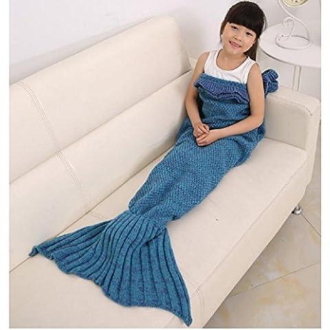 Cola de sirena maltonyo17Niñas Crochet Tejer manta saco de dormir para niños de artesanía