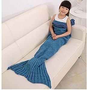 maltonyo17ragazze Crochet maglia sirena coda coperta sacco a pelo Handcraft per bambini