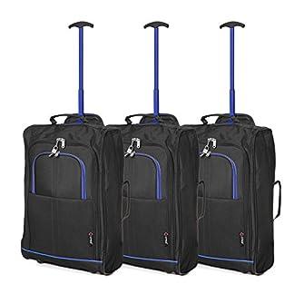 Set de Tres – 5 Cities Equipaje de Mano Equipaje de Cabina Maletas Trolley Bolsas de Viaje para Iberia/Vueling/Volotea (Azul Marino)