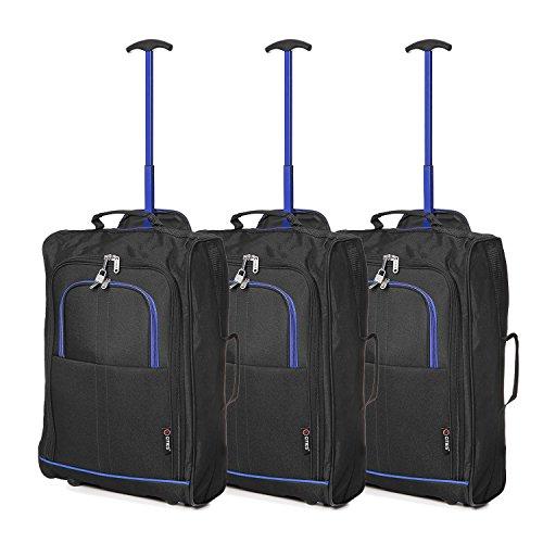 Lot de 3 Super Léger de Voyage Bagages Cabine Valise Sac à Roulettes (Bleu + Noir)