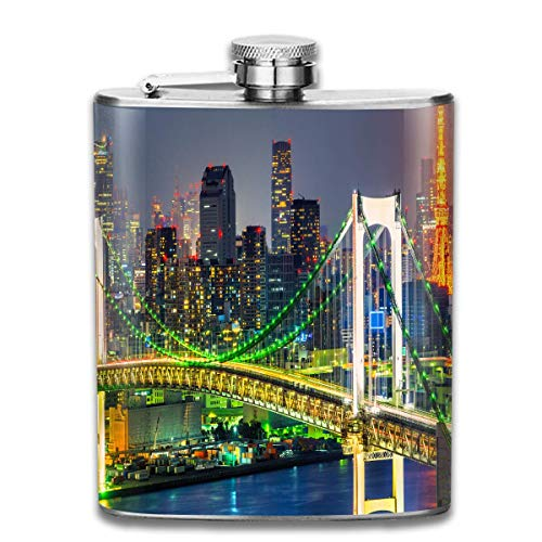 Unique flasks Stainless Steel Flasks 7 Oz Tokyo Skyline with Tokyo Tower and Rainbow Bridge Tokyo Japan Night Scenery View Whiskey Flask Hip Flask Leak Proof Wine Men Women -