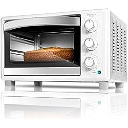 Cecotec Horno eléctrico multifunción de sobremesa. Ideal para pizzas. Equipado con luz interior. 23 litros de capacidad y puerta con doble cristal. 1500 W. Bake&Toast 590