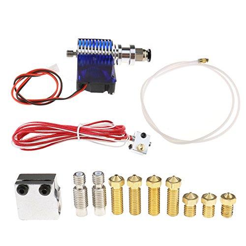 3D Printer V6 Extruder Hotend 1.75 mm/0.4 mm RepRap Kit + extra Parts, Messing Druckkopf, Düsen Kehle, Volcano heating Block - Kehle Kit
