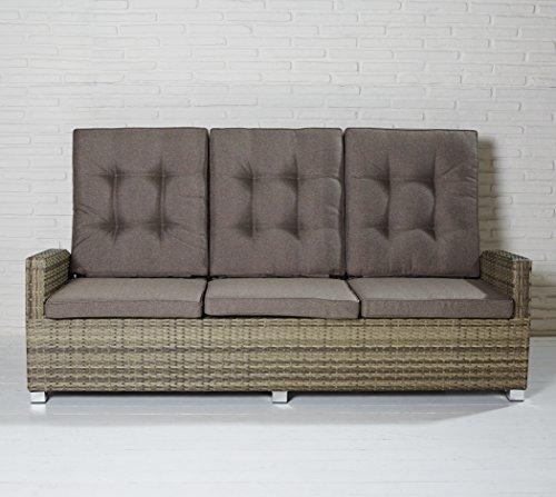 Luxus Dreisitzer Monte-Carlo braun Rocking Chair Sofa verstellbare Rückenlehne