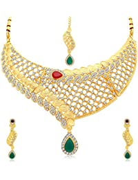 Sukkhi Classic Gold Plated AD Choker Necklace Set For Women