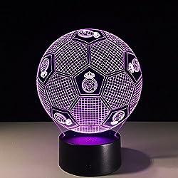 Visualización de luz nocturna 3D Glow 7 Cambio de color Botón táctil USB y control remoto inteligente Mesa de escritorio Iluminación Bonito regalo Decoraciones para oficina en el hogar Juguetes (Fútbol Real Madrid)